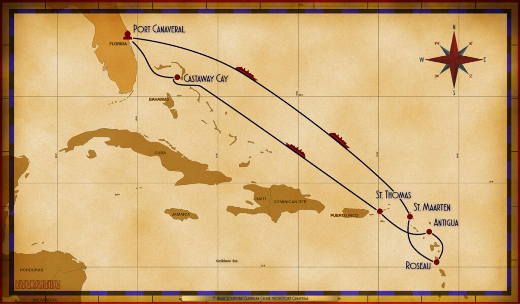 Map Fantasy 9 Night Southern Caribbean PCV SEA SEA SXM RSU ANU STT SEA GOC