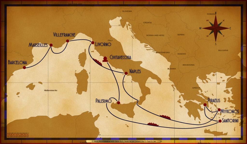 Map Magic 12 Night Greek Isles CVV PMO SEA JTR ATH JMK SEA NAP SEA LIV VLL MRS BCN