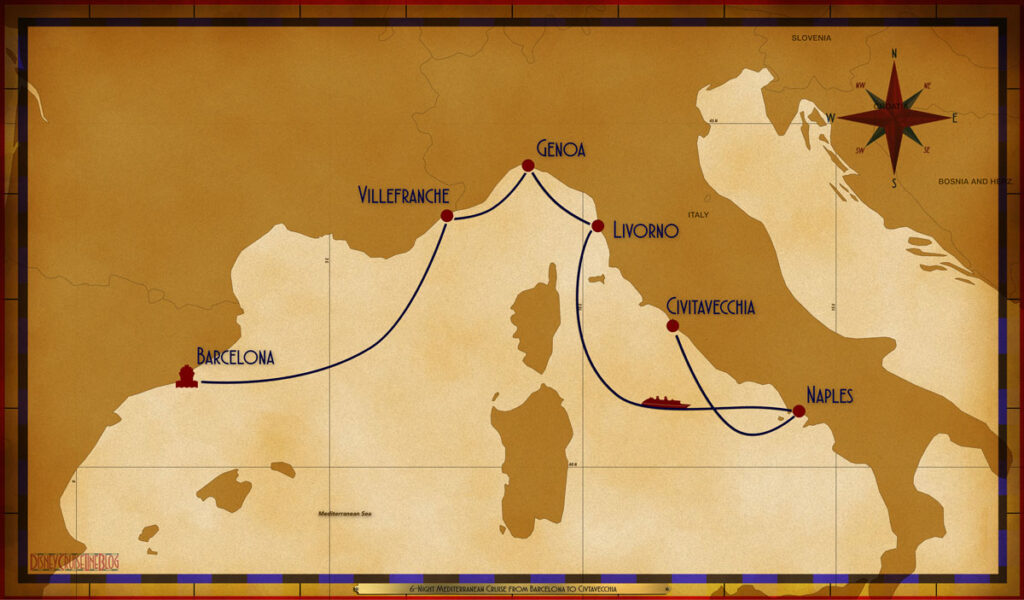Map Magic 6 Night Mediterranean BCN VLL GOA LIV SEA NAP CVV