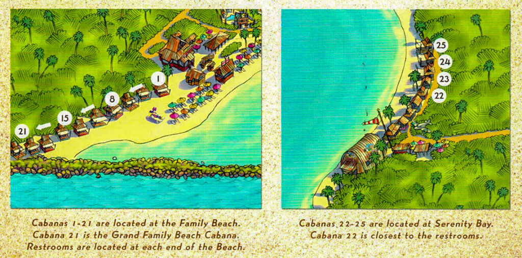 Castaway Cay Beach Cabana Retreat Information Locations Map August 2018