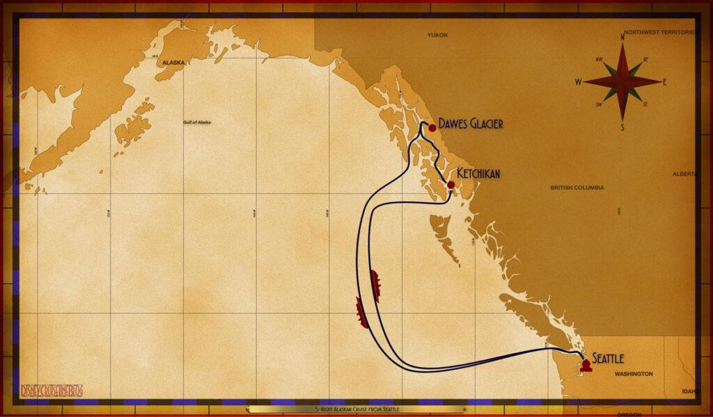 Map Wonder 5 Night Alaskan SEA SEA DAW KTN SEA