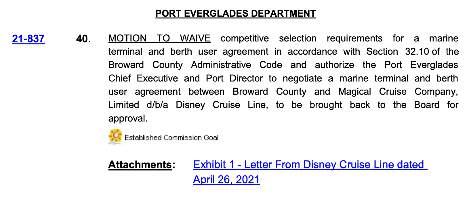 Port Everglades DCL Agenda Item 20210518