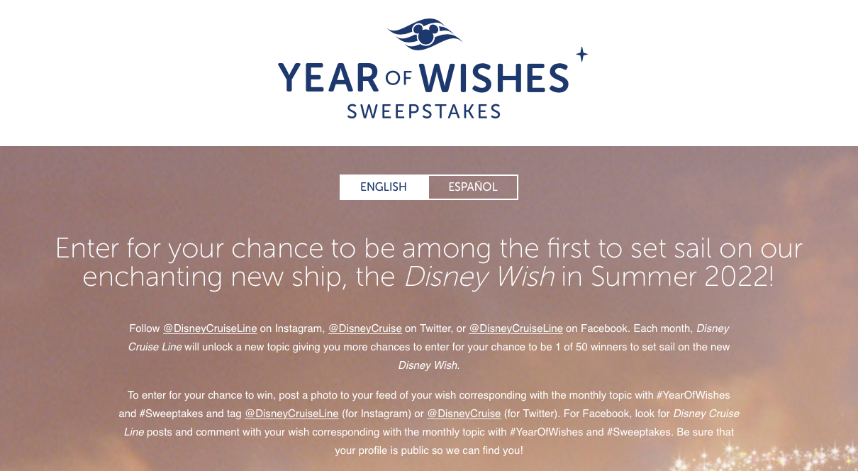 DCL Year Of Wishes Sweepstakes