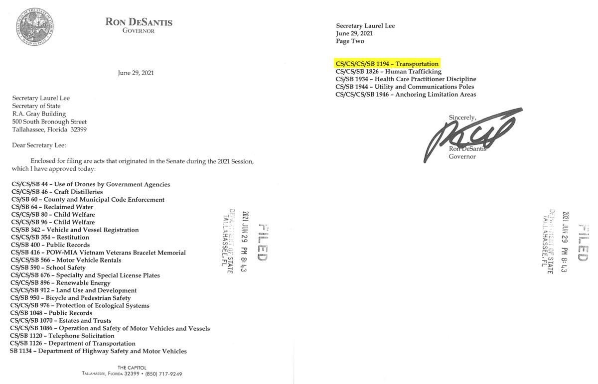 FL DeSanis Senate Bills Signed 20210629