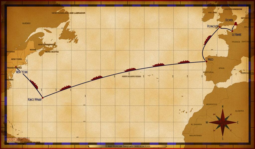 Map Magic 12 Night Transatlantic DVR LEH PLY SEA VGO SEA SEA SEA SEA SEA KWF SEA NYC