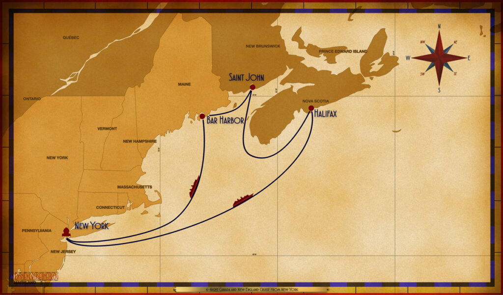 Map Magic 6 Night Canada New England NYC SEA BHB SJB HAL SEA