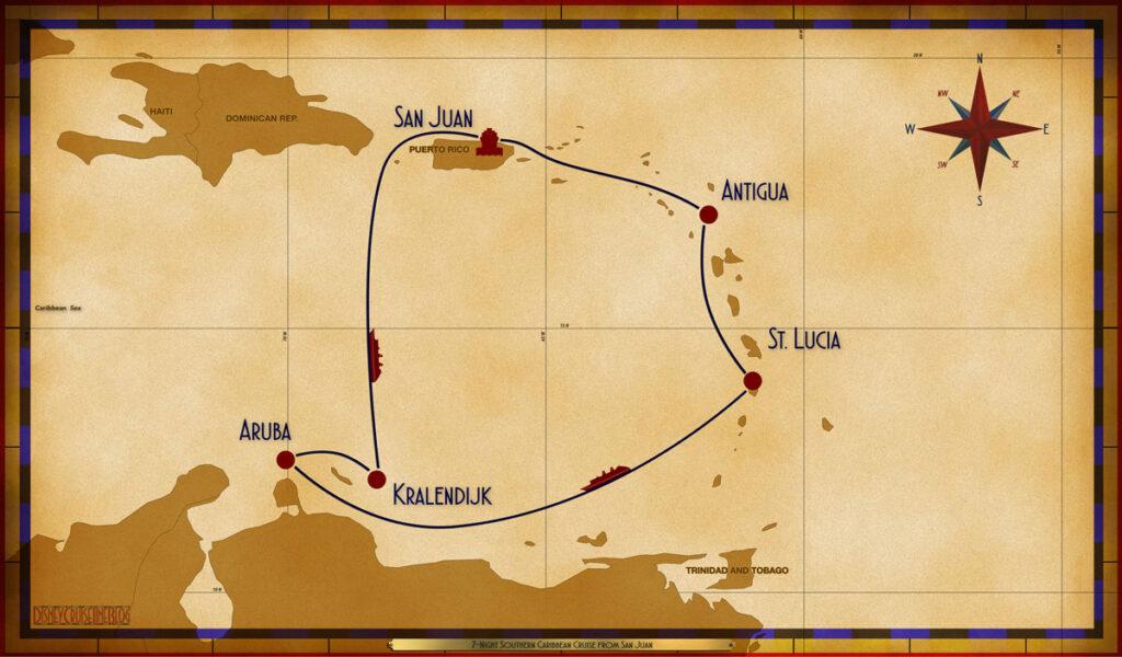 Map Magic 7 Night Southern Caribbean SJU ANU CAS SEA ARU BON SEA