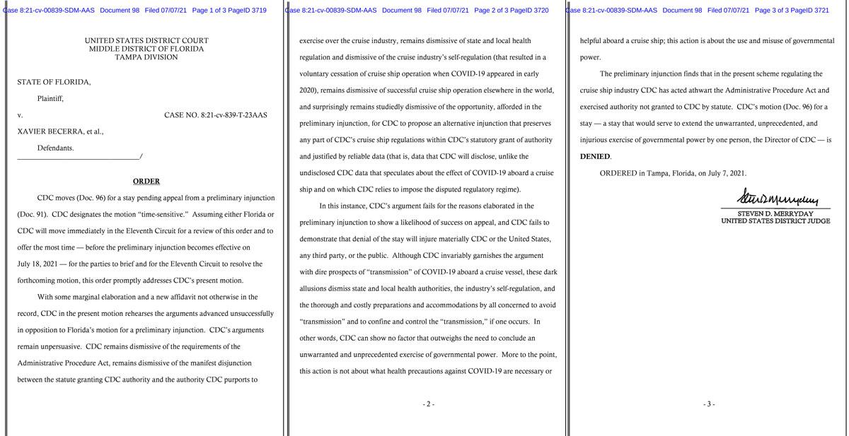 FL CDC Motion Stay Denied 20210707