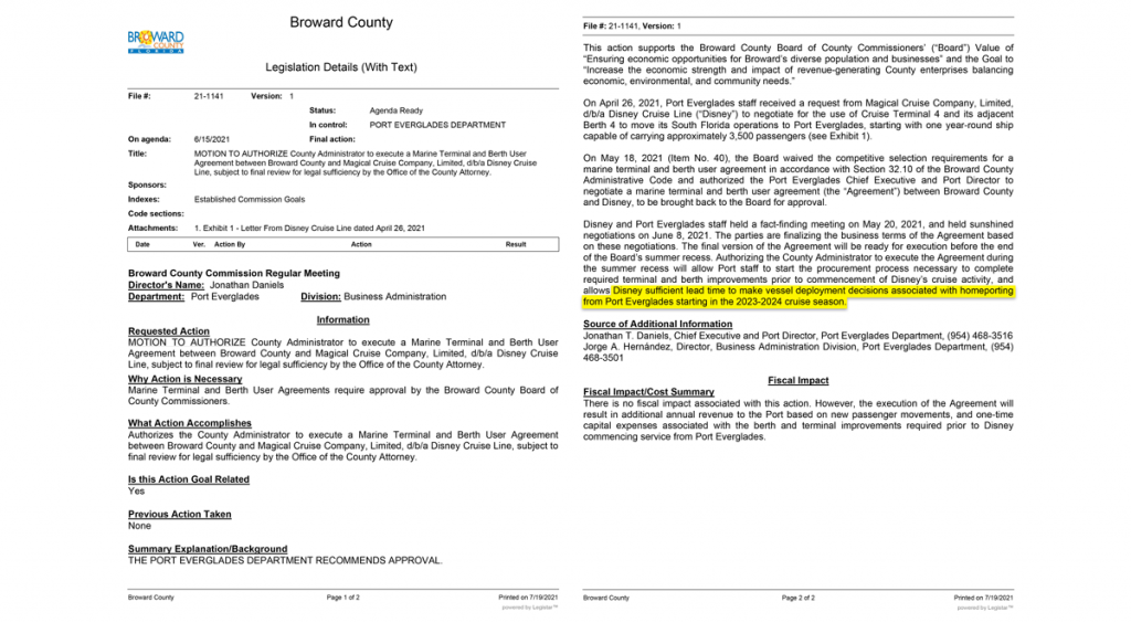 Port Everglades DCL Agenda Item 20210615