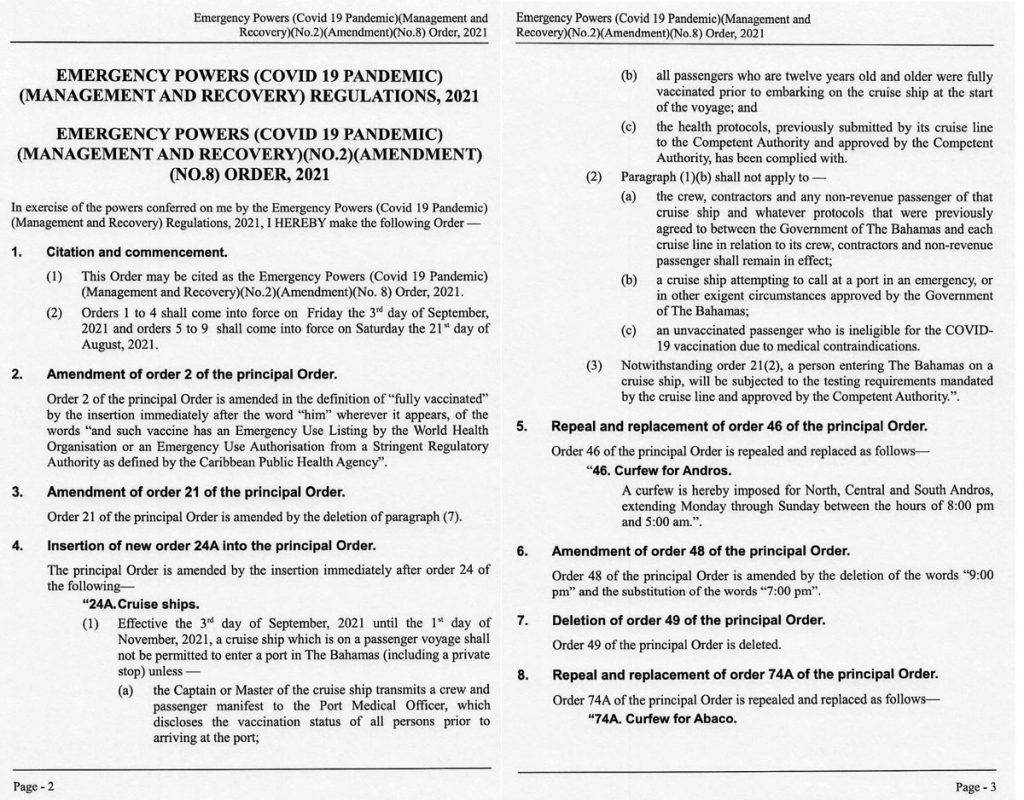 Bahamas Emergency Powers Covid 19 Pandemic Management And Recovery No 2 Amendment No 8 Order 20210819