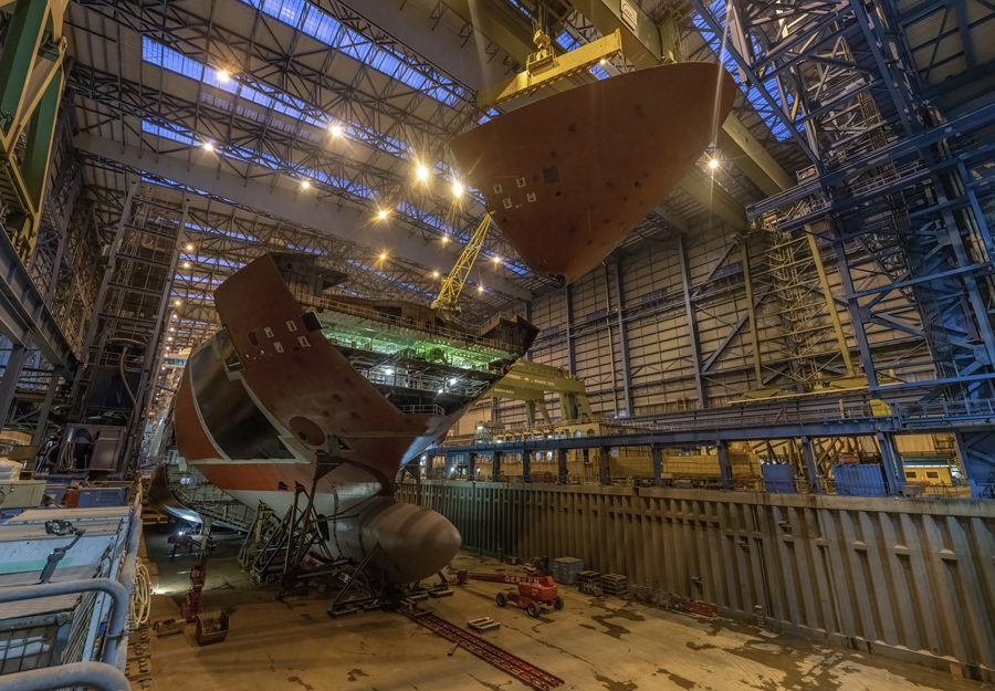 Disney Wish Bow Installation Starboard